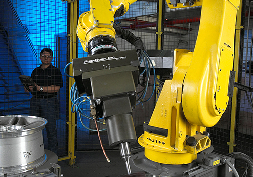 Fanuc Robot with PushCorp Deburring Material Removal EOAT